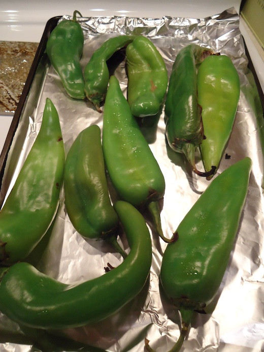 fresh chilis ready to roast